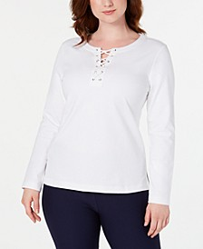 Lace-Up Sweatshirt, Created for Macy's