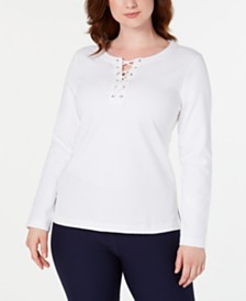 Karen Scott Lace-Up Sweatshirt, Created for Macy's