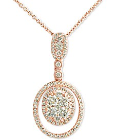"Le Vian® Vanilla Diamond® 18"" Circular Pendant Necklace (3/4 ct. t.w.) in 14k Rose Gold"