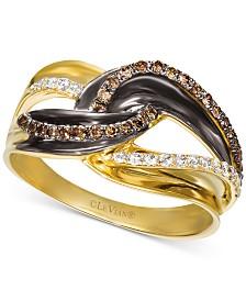 Le Vian® Vanilla Diamond® (1/8 ct. t.w.) & Chocolate Diamond® (1/5 ct. t.w.) Statement Ring in 14k Gold