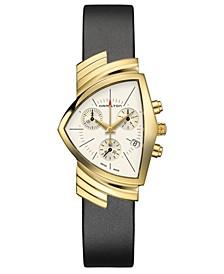 Unisex Swiss Chronograph Ventura Black Leather Strap Watch 32.3x50.3mm