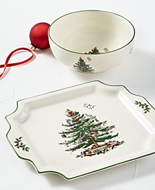 Christmas Tree Bowl and Platter Set, Created for Macy's