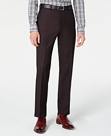 Men's Modern-Fit Stretch Burgundy Birdseye Suit Pants