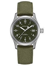 Unisex Swiss Mechanical Khaki Field Green Canvas Strap Watch 38mm