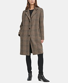 Petite Faux-Leather-Trim Plaid Walker Coat, Created for Macy's