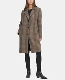 DKNY Petite Faux-Leather-Trim Plaid Walker Coat, Created for Macy's
