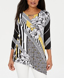 JM Collection Petite Embellished Asymmetrical Tunic, Created for Macy's