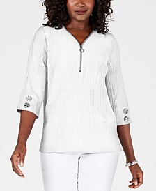 JM Collection Quarter-Zip Crinkle Texture Top, Created for Macy's