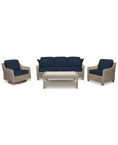 Willough Wicker Outdoor 4-Pc. Set (1 Sofa, 1 Club Chair, 1 Swivel Glider &  1 Coffee Table) with Custom Sunbrella® Colors, Created For Macy\'s