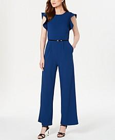 Belted Ruffle-Sleeve Jumpsuit, Regular & Petite Sizes