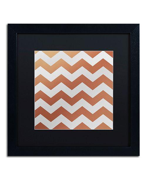 "Trademark Global Color Bakery 'Xmas Chevron 4' Matted Framed Art - 16"" x 16"""
