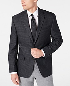 Men's Classic-Fit UltraFlex Stretch Gray/Blue Mini-Check Sport Coat