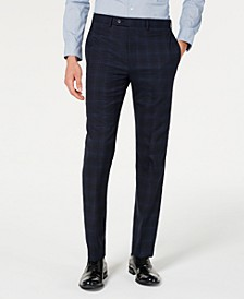 Men's X Slim-Fit Stretch Navy Plaid Suit Separate Pants