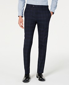 Calvin Klein Men's X Slim-Fit Stretch Navy Plaid Suit Separate Pants