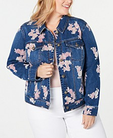 Plus Size Floral-Print Denim Jacket, Created for Macy's