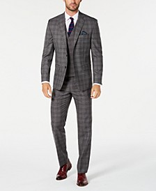 Men's Classic-Fit UltraFlex Stretch Dark Gray Windowpane Vested Suit Separates