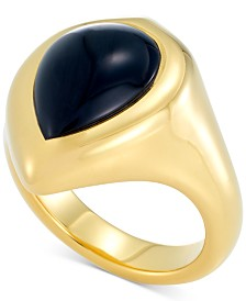 Signature Gold Onyx Statement Ring in 14k Gold Over Resin, Created for Macy's
