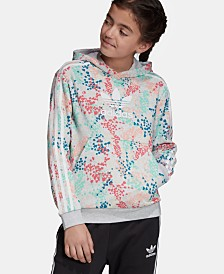 adidas Originals Big Girls Floral-Print Logo Hoodie