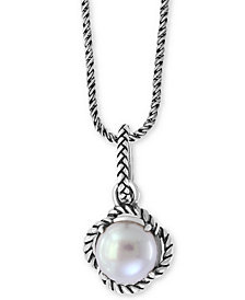 """EFFY® Cultured Freshwater Pearl 18"""" Pendant Necklace (9mm) in Sterling Silver"""