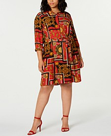 Trendy Plus Size Chain-Print Shirtdress