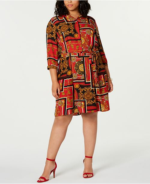 Be Bop Trendy Plus Size Chain-Print Shirtdress