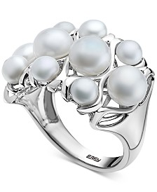 EFFY® Cultured Freshwater Pearl (4 & 6mm) Openwork Cluster Ring in Sterling Silver