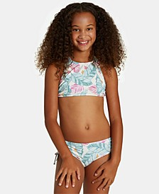 Toddler & Little Girls 2-Pc. Mas Playas High-Neck Printed Bikini