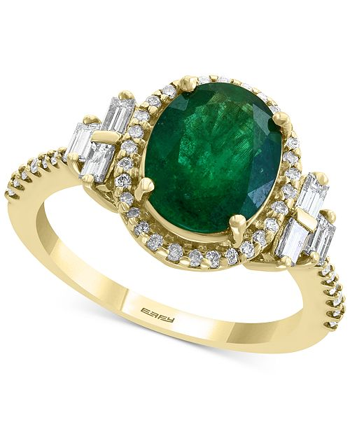 EFFY Collection EFFY® Emerald (2-1/8 ct. t.w.) & Diamond (1/2 ct. t.w.) Statement Ring in 14k Gold
