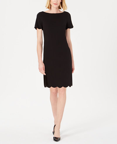 Kasper Petite Scalloped Scuba Dress