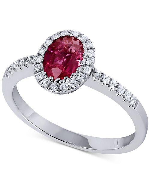 Macy's Certified Ruby (7/8 ct. t.w.) & Diamond (1/5 ct. t.w.) Statement Ring in 14k White Gold