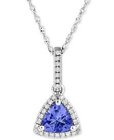 """Tanzanite (3/4 ct. t.w.) & Diamond (1/10 ct. t.w.) 18"""" Pendant Necklace in 10k White Gold"""