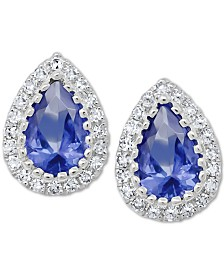 Tanzanite (3/4/ ct. t.w.) & Diamond (1/8 ct. t.w.) Stud Earrings in 14k White Gold