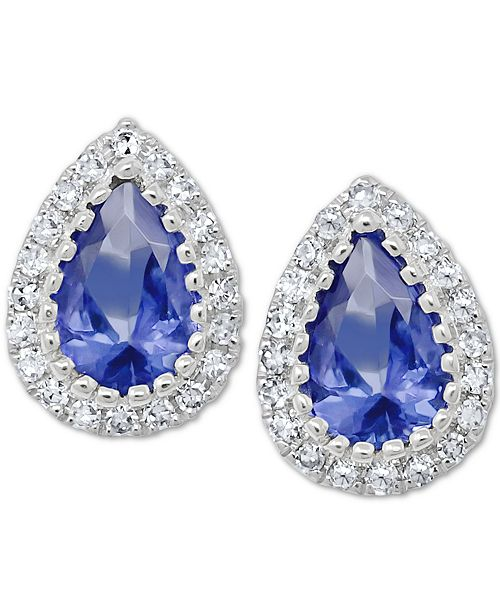 Macy's Tanzanite (3/4/ ct. t.w.) & Diamond (1/8 ct. t.w.) Stud Earrings in 14k White Gold