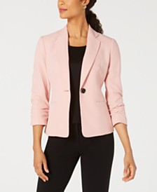 Kasper Ruched-Sleeve One-Button Blazer