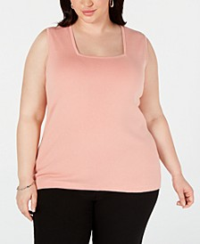 Plus Size Square-Neck Sleeveless Sweater