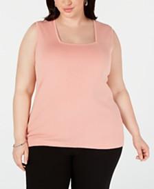 Kasper Plus Size Square-Neck Sleeveless Sweater