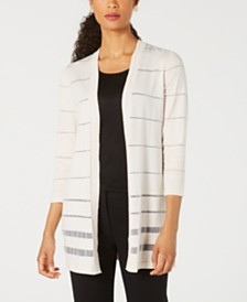 Kasper Sheer Metallic-Stripe Cardigan