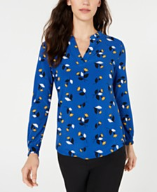 Anne Klein Woodstock Printed Split-Neck Top