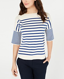 Anne Klein Striped Boat-Neck Sweater