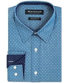 Nick Graham Men's Slim-Fit Performance Stretch Print Dress Shirt