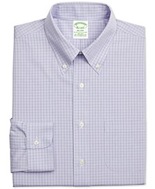 Men's Milano Fitted Performance Stretch Non-Iron Purple Check Dress Shirt