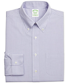 Brooks Brothers Men's Milano Fitted Performance Stretch Non-Iron Purple Check Dress Shirt