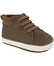 Baby Deer Baby Boy Distressed PU Hi-Top with Suedecloth Collar
