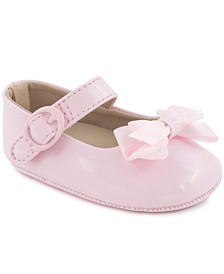 Baby Girl Patent Skimmer with Flower Strap Overlay