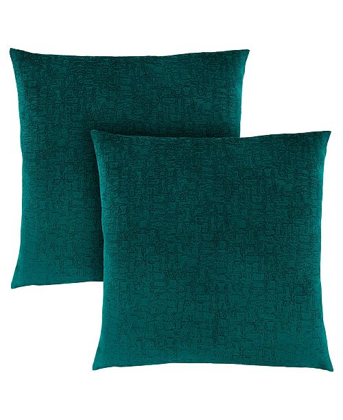 "Monarch Specialties 18"" x 18"" Mosaic Velvet Pillow, Set Of 2"