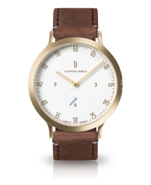 L1 Standard White Dial Gold Case Leather Watch 42mm
