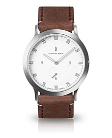 L1 Standard White Dial Silver Case Leather Watch 37mm