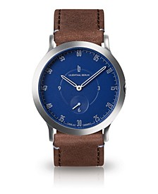 L1 Standard Blue Dial Silver Case Leather Watch 37mm