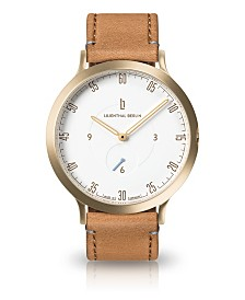 Lilienthal Berlin L1 Standard White Dial Gold Case Leather Watch 42mm