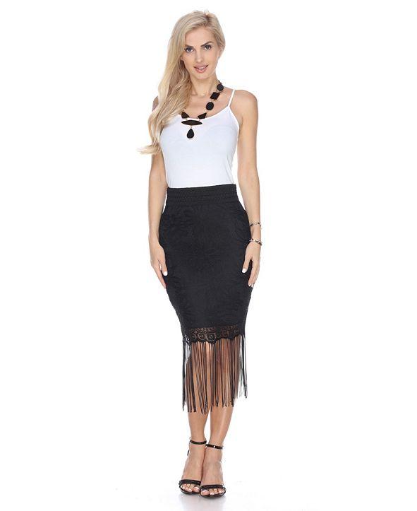 White Mark Vega Fringe Skirt